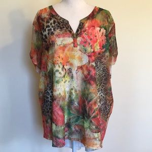 Chico's Mixed Print Lace Overlay Short Sleeve Top